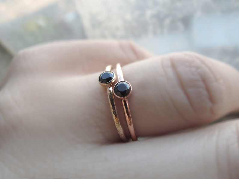 Minimal Solid Gold Ring Black Diamond or Spinel 3mm or 4mm Sustainable White Rose or Yellow 10k or 14k Rustic Gold Solitaire