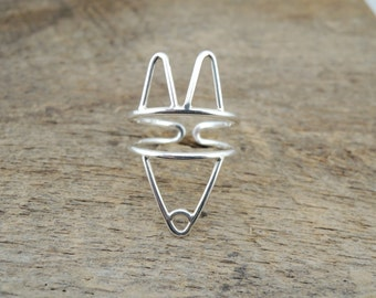 Fox Ring - Sterling Silver - Canine Dog or Fox Ring - Adjustable - Sustainable Sterling Silver 925 - Made to Order