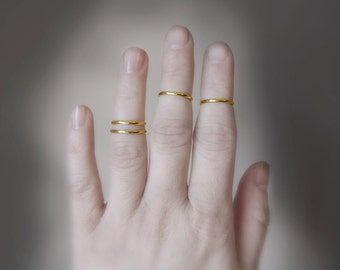 Set of 4 Solid Gold 14K Knuckle Rings - Eco-Friendly Sustainable Gold - Midi Rings Stacking Rings - Made to Order