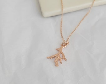 Mini Cedar Leaf Pendant -  Rose Gold Plated 14k - Gold Filled Chain - Necklace - Nature - Made to Order