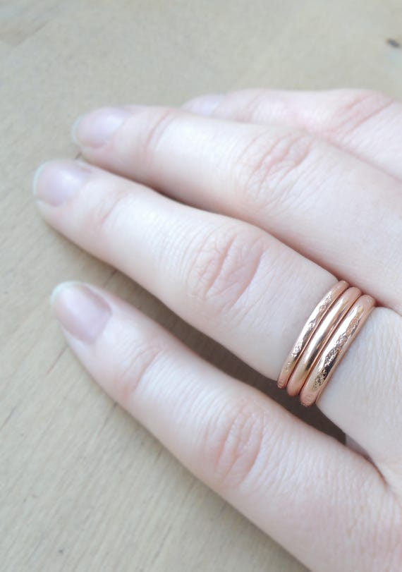 2mm Yellow Rose Midi Rings Stacking Ring Gold Filled Made to Order Simple Ring 12 Gauge
