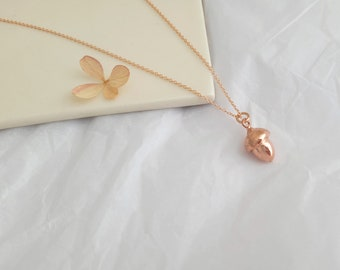 Acorn - Small Oak Nut Pendant - 14k Rose Gold Plated Pendant - Made to Order