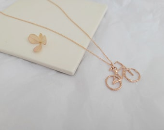Bicycle Pendant - 14k Rose Gold Plated - Gold FIlled Chain - Unisex - Made to Order