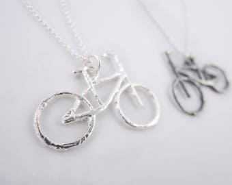Bicycle Necklace - Small Bike Pendant - Silver Twig Pendant - Sterling Silver Chain - Rhodium - Unisex - Made to Order