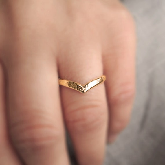 Eco-Friendly Sustainable Gold Solid Gold 14K Chevron Ring 12 Gauge Made to Order Yellow Rose or White Midi Rings Wedding band