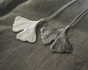 Silver Ginkgo Leaf Pendant - Nature Inspired Pendant - Sterling Silver 925 or Semi Oxidized - Made to Order