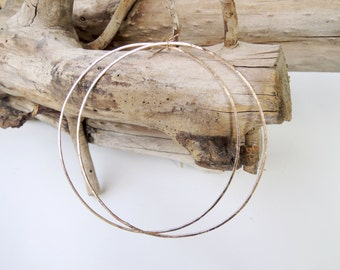 4 inch Extra Large Hoops Rustic Gold Filled Earrings - Handmade