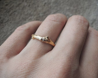 Reserved for Hunter - 2 Branch Rings - Yellow Bronze - Brass - Everyday Ring or Engagement Ring - Made to order
