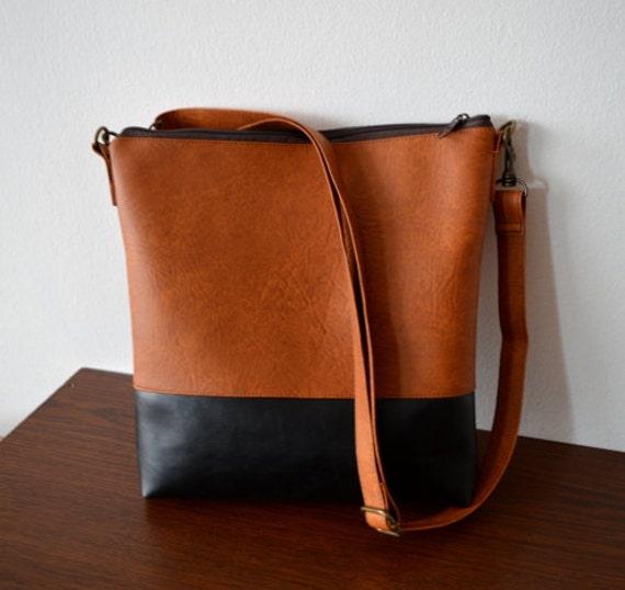 9fa19c5edb Shoulder bag   Crossbody purse   Brown-Black faux leather bag