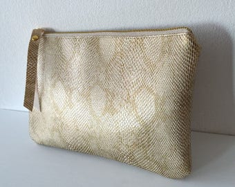 Clutch Purse Evening Bag, Faux Snake Leather Clutch