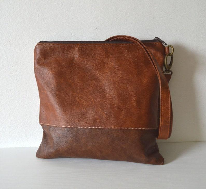 Leather crossbody bag Simple shoulder bag Brown bag purse
