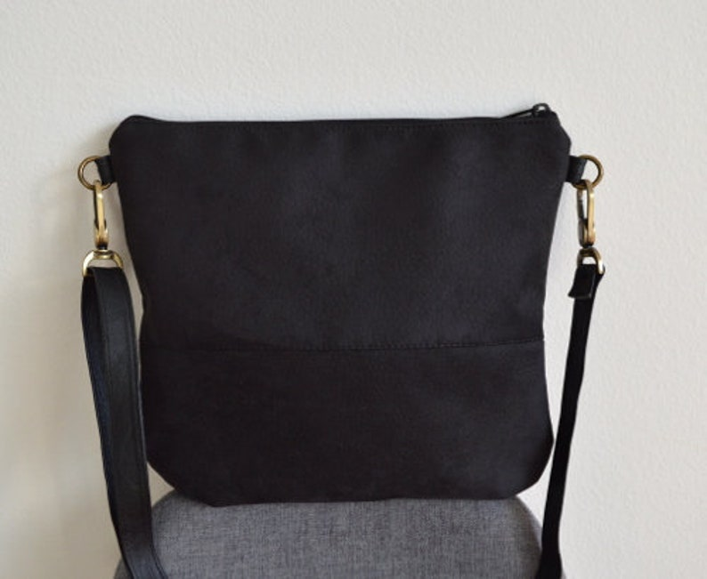 6774dd14eaa9 Black crossbody bag, Faux suede purse, Hobo bag