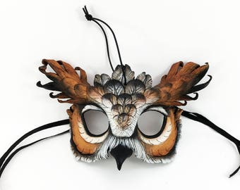 Miniature Great Horned Owl Mask Ornament