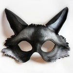 Custom Black Fox Leather Mask