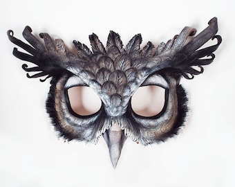 Giant Eagle Owl Leather Mask