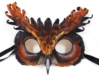 Tawny Screech Owl Leather Mask