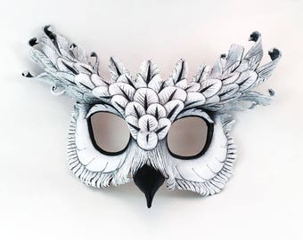White Owl Leather Mask