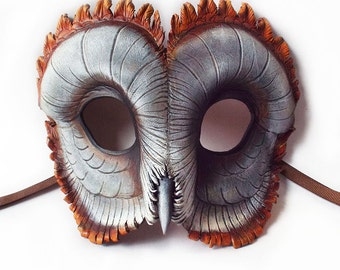 Ashy-Faced Barn Owl Leather Mask