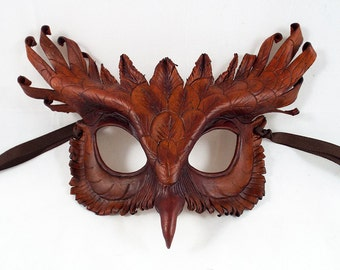 Brown Owl Leather Mask