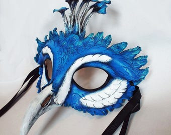 Peacock Leather Mask