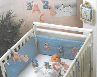 Sewing Craft Pattern for Baby Mobile, ABC Crib Toy, Appliqued Bumpers and Door Sign, Babies Room Decor, Simplicity Crafts 7254 UNCUT Pattern