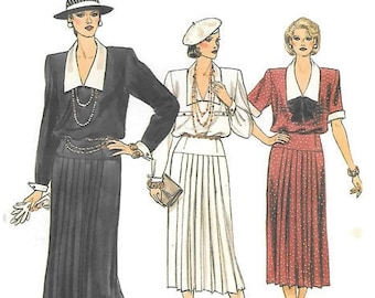Vogue 80s Pullover Dress, 1920s Dress Style Loose Fitting Blouson Bodice, Straight Pleated Skirt, Vogue 9189 Pattern Sz 10 Bust 32 1/2 UNCUT