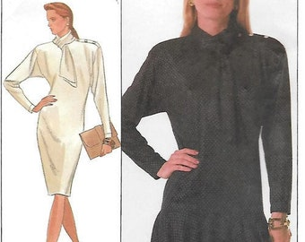Misses Sung Sport Pullover Dress Simplicity 8902 Sewing Pattern, Size 8, Bust 31.5, Straight or Drop Waist Flounce Skirt, UNCUT Hard to Find