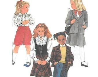 Childs Culottes, Bias Skirt, Pants, Vest & Jacket Sewing Pattern, Size 3,4,5 Simplicity 7060, UNCUT pattern, School Uniform, Holiday Dress