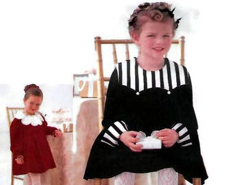Girls Party Dress w/Collar Variations, Vogue for Me 9884 Child Size 2-3-4, Ruffled Lining, Long or Short Puff Sleeves, Velvet Dress, UNCUT