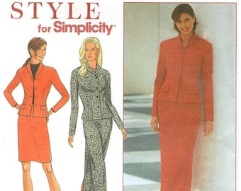 Fitted Jacket and Straight Skirt in Two Lengths, Simplicity 8954 Sizes 8-18 Sewing Pattern for Double Knits, Jerseys, 2-way Stretch, UNCUT