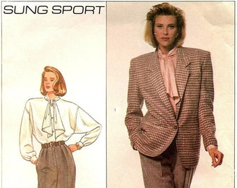 Sung Sport Blouse with Tie, Front Pleated Pants and Loose Fitting Lined Jacket, Simplicity 8340 Size 14 Bust 36 Sewing Pattern, 1987, UNCUT