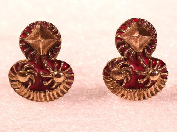 Vintage 50s Earrings Bronze Earrings Enamel Earrin