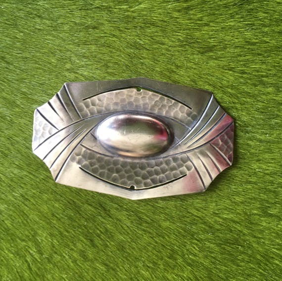 Art Deco Silver Plate Brooch Hammered  Large  Geom