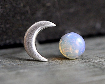 Sterling Crescent Moon and glass opal stud earrings. Mismatched dainty earrings for her. Bridal earrings, bridesmaid.