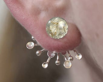 Real dandelion ear jackets. Glass orb with real dandelion seeds and abstract silver dandelions. Double stud earrings. Modern jewelry.