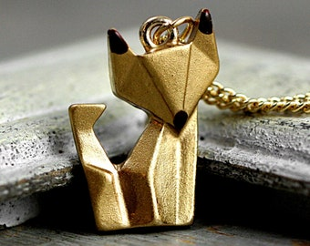 Origami fox necklace. Hand patinated golden fox with enameled ears and snout. Animal necklace for her.