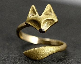 Little Fox Ring Hand-Gilded