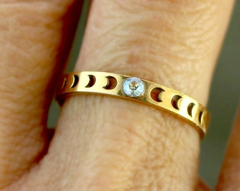 Dainty Moon Phase ring. 18k over sterling. Tiny crystal. Engagement Ring. Anniversary Ring. Gift for her.