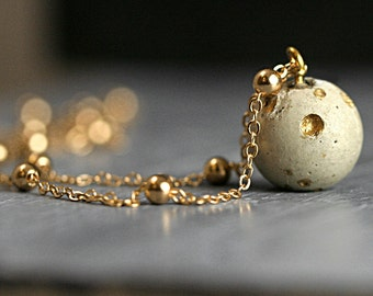 Concrete & Gold planet moon necklace. Delicate concrete full moon with crater landscape and satellite necklace. Dainty solar system.