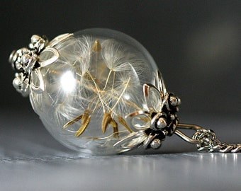 Real Dandelion Seeds antique style glass orb, handblown, with long necklace