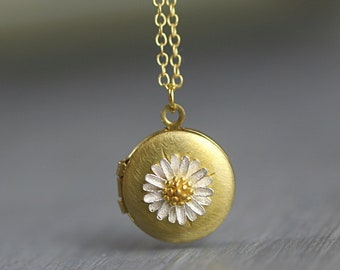 Dainty photo locket necklace. Silver daisy on vintage pendant. Gold filled or sterling plated.