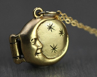 Small celestial gold locket necklace. Dainty vintage moon & stars jewelry. Gift for her, mom, sister, best friend, bridesmaid.
