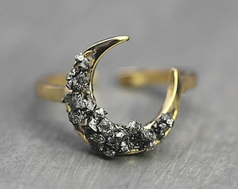 Crushed crystal crescent moon ring. Gold plated sterling.