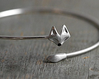 Delicate silver fox bangle. Fox head and tail. Enameled nose. Adjustable wrap bangle.