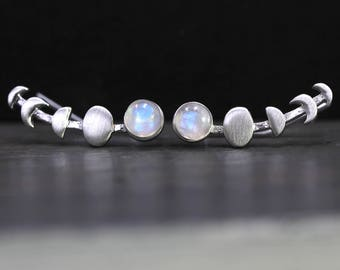 Sterling waxing moon & moonstone ear climbers. 925 silver and rainbow moonstone. Moon phases earrings for her.