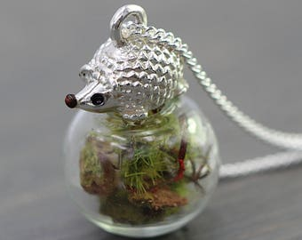 Delicate sterling hedgehog forest necklace. 925 hedgehog on orb with real forest floor. Dainty sterling silver necklace for her.