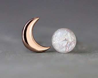 Tiny Rose Gold moon & glass opal stud earrings. Mismatched dainty earrings for her. Sterling rose gold plated.