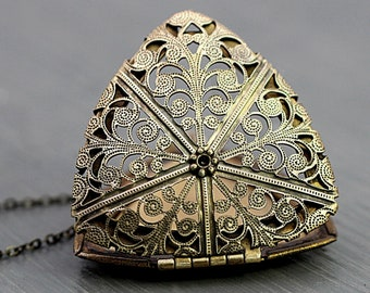New: Antique brass vintage locket necklace. Genuine vintage triangle locket on long necklace. Big filigree triangle locket. Gift for her.