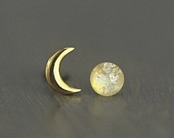 Tiny Gold moon & glass opal stud earrings. Mismatched dainty earrings for her. Sterling gold plated.