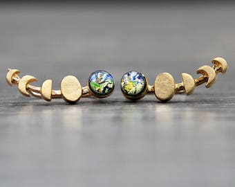 Planet Earth & moon phases ear climbers. Glass opal. Dainty earrings for her. 18k gold plated sterling.